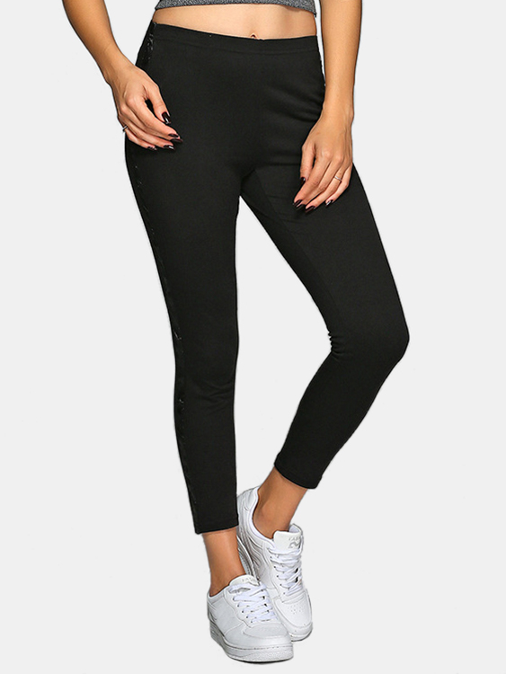 Active Contrast Color Stitching High Waisted Yoga Leggings in Black active stitching high waisted yoga leggings in blue