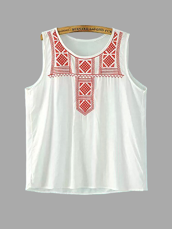 Red Embroidery Vest