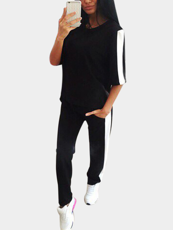 Active Contrast Color Stitching Elastic Tracksuit in Black men contrast stitching elastic foot jeans