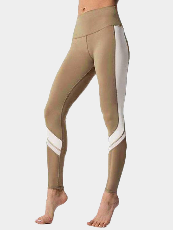 Active Comfy Contrast Color Quick Drying High Waist Leggings in Khaki