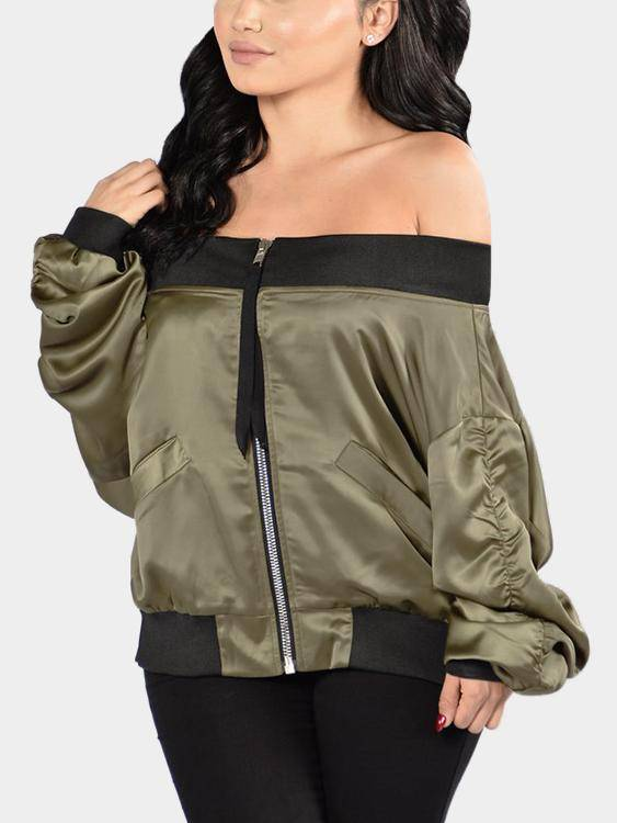 Green Sexy Off-shoulder Zipper Front Pocket Long Sleeves Jacket