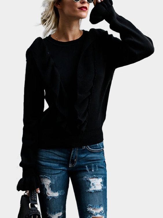 Black Flounce Details Crew Neck Long Sleeves Bodycon Hem Sweater white cold shoulder flounced hem bodycon top