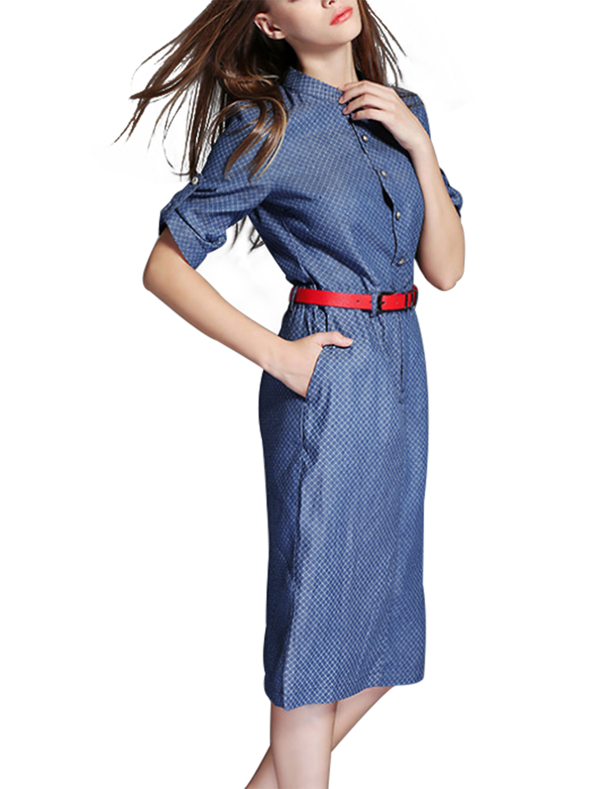 3/4 Sleeve Midi Shirt Dress with Belt