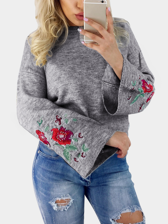 Grey Embroidery Pattern Round Neck Bell Sleeves Jumper a three dimensional embroidery of flowers trees and fruits chinese embroidery handmade art design book