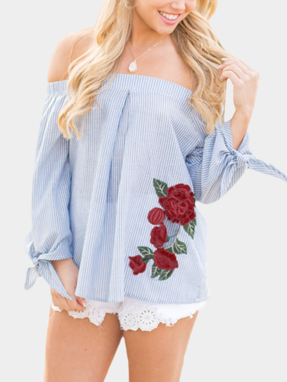 Off-The-Shoulder With Floral Rose Embroidered Design Stripe Top plus split floral knot off the shoulder two piece outfit