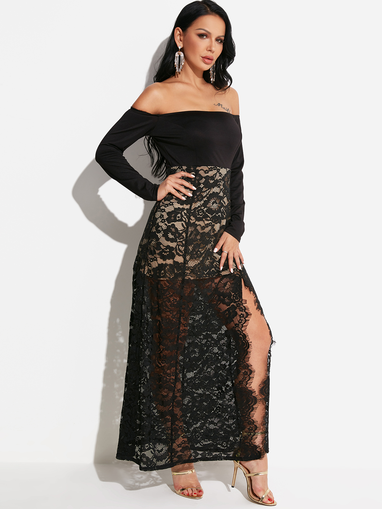 Black Stitching Design Off The Shoulder Long Sleeves Maix Lace Dress