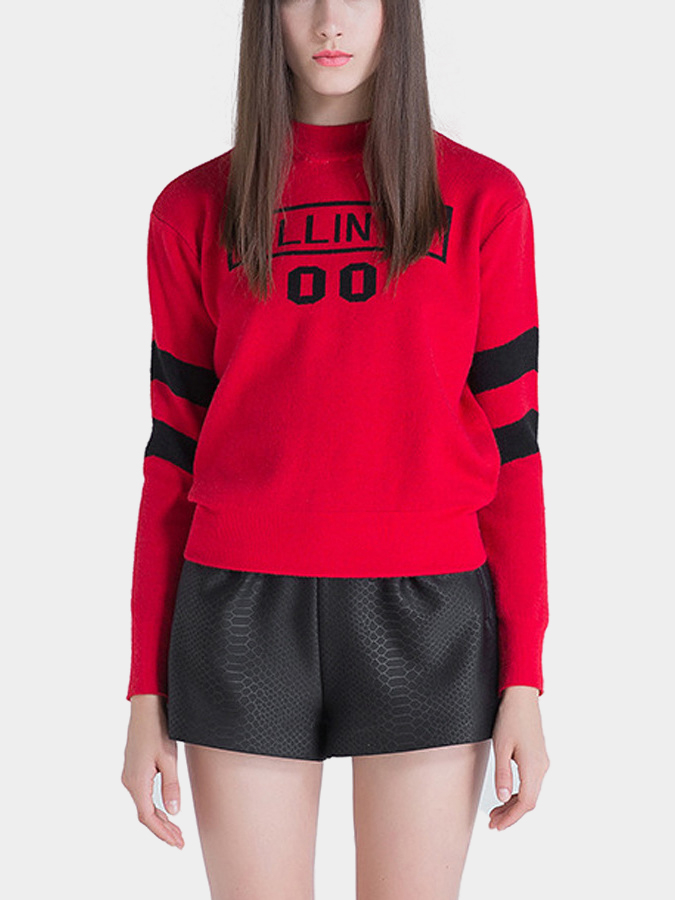 Roll Neck Fine Knit Sweater in Red