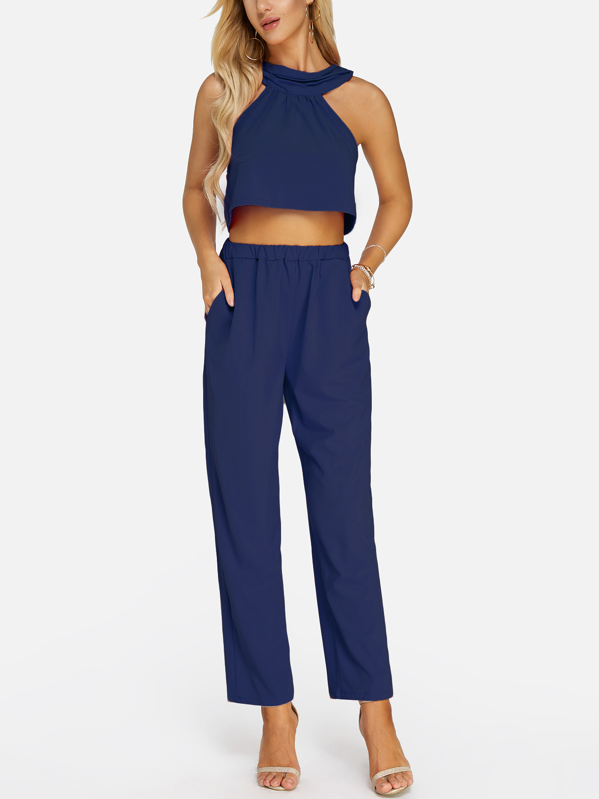 Dark Blue Sleeveless High Waist Halter Co-ord burgundy tube top and trumpet trousers co ord