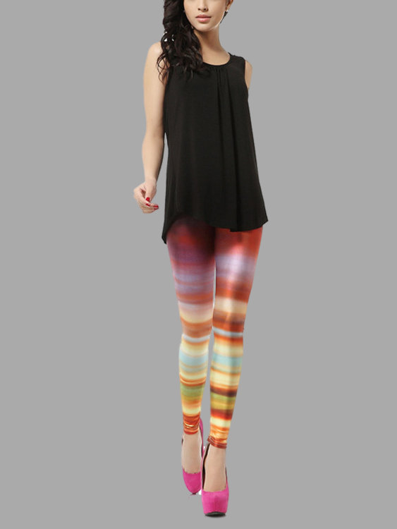 Multi Color Print Basic Leggings