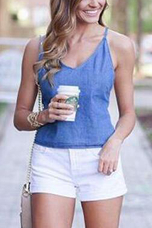Blue V-neck Criss-cross Back Denim Cami Top white cold shoulder criss cross back overlay cami top