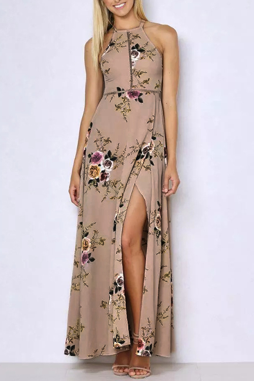 Halter Neck Open Back Random Floral Print Maxi Dress in Khaki slit halter evening maxi dress