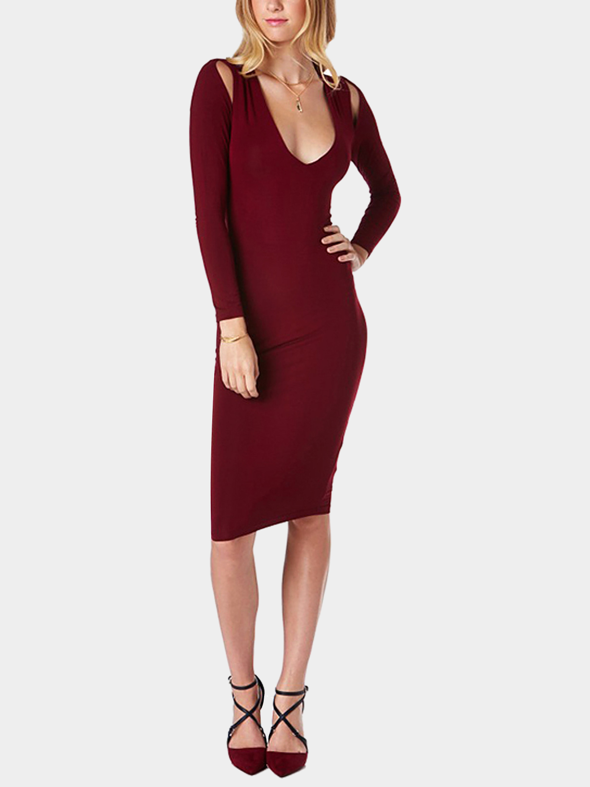 Burgundy V Neck Midi Dress with Cut Out Detail