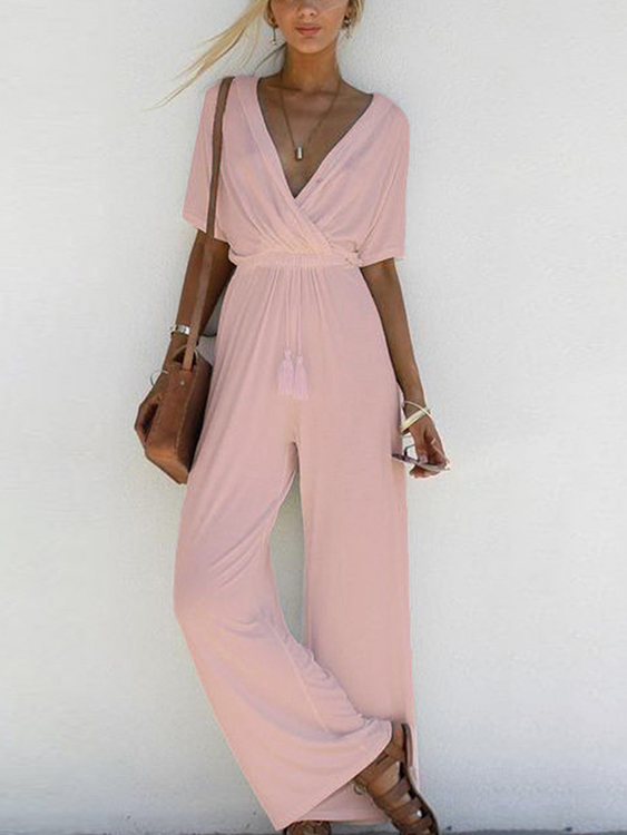 Baby Pink V-neck Tassel Detailed Playsuit pink u neck halter strap playsuit