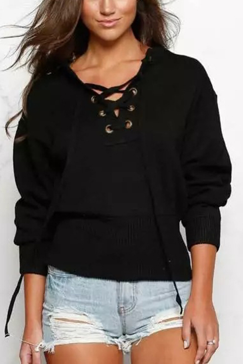 Black Knitting Lace-up Long Sleeves Knitwear