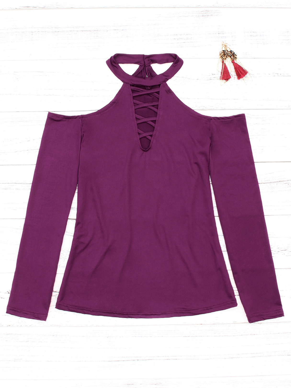 Purple Lace-up Front Design Halter Cold Shoulder Long Sleeves Blouse смеситель для кухни zorg zr 800 k a7 5