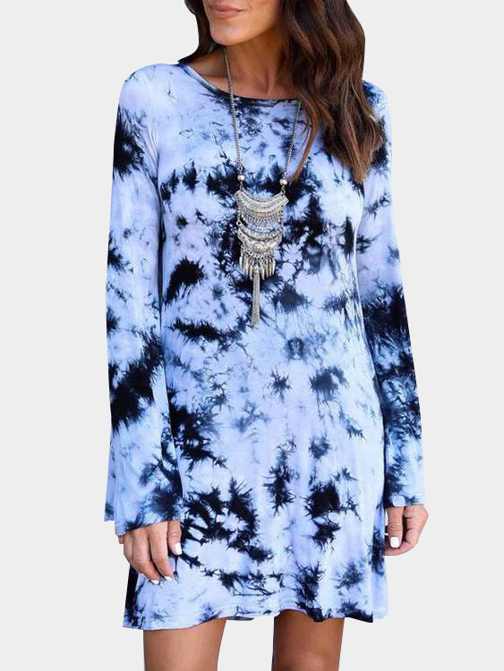 Light Blue Backless Design Random Floral Print Long Sleeves Dress fashion round collar long sleeves floral print women s mini dress