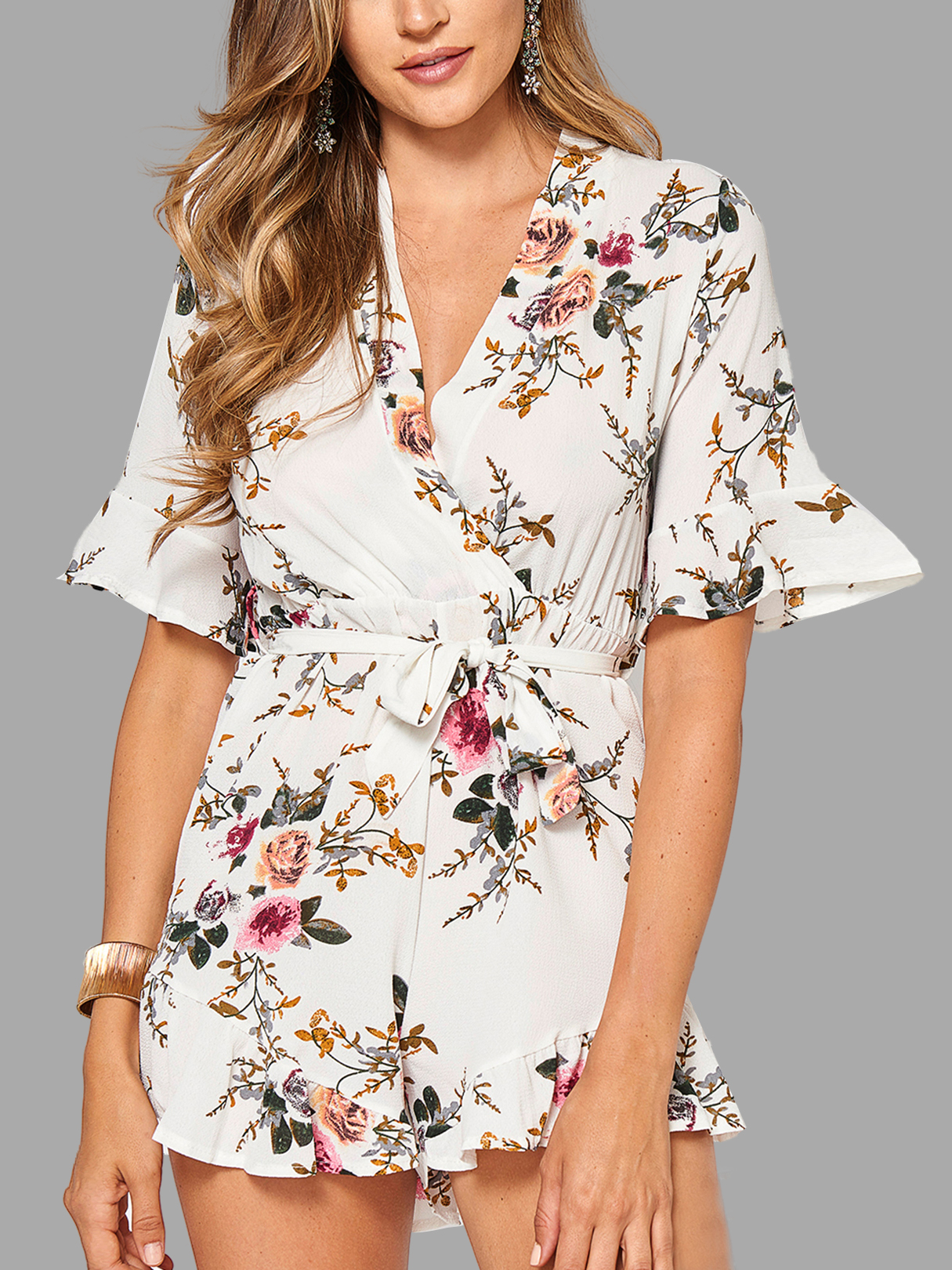 Wrap Front Random Floral Print Mini Playsuit With Half Sleeves стоимость