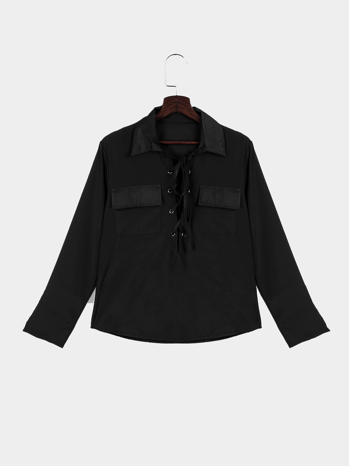 Black Lapel Neck Lace-up Pocket Front Shirt