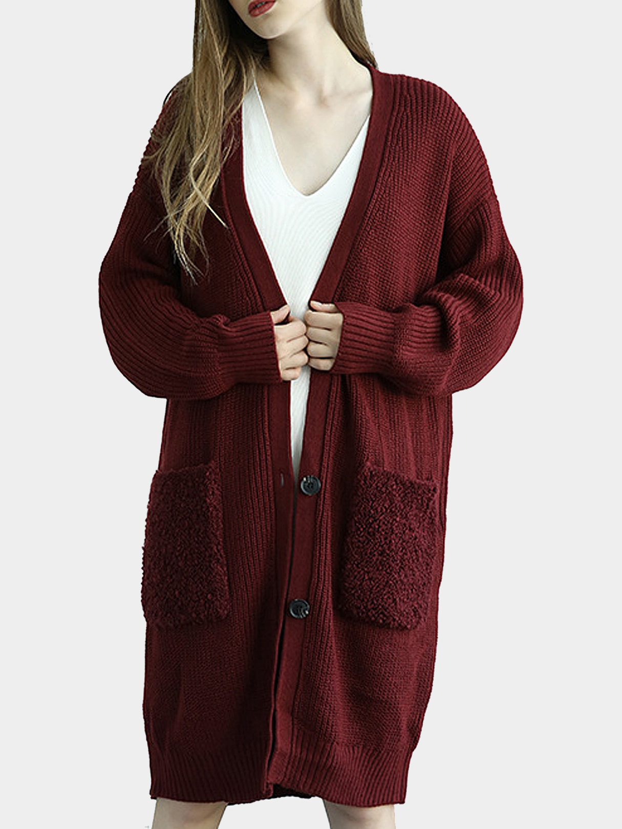 Burgundy Button Front Longline Cardigan In Knit marled knit button front staggered hem t shirt