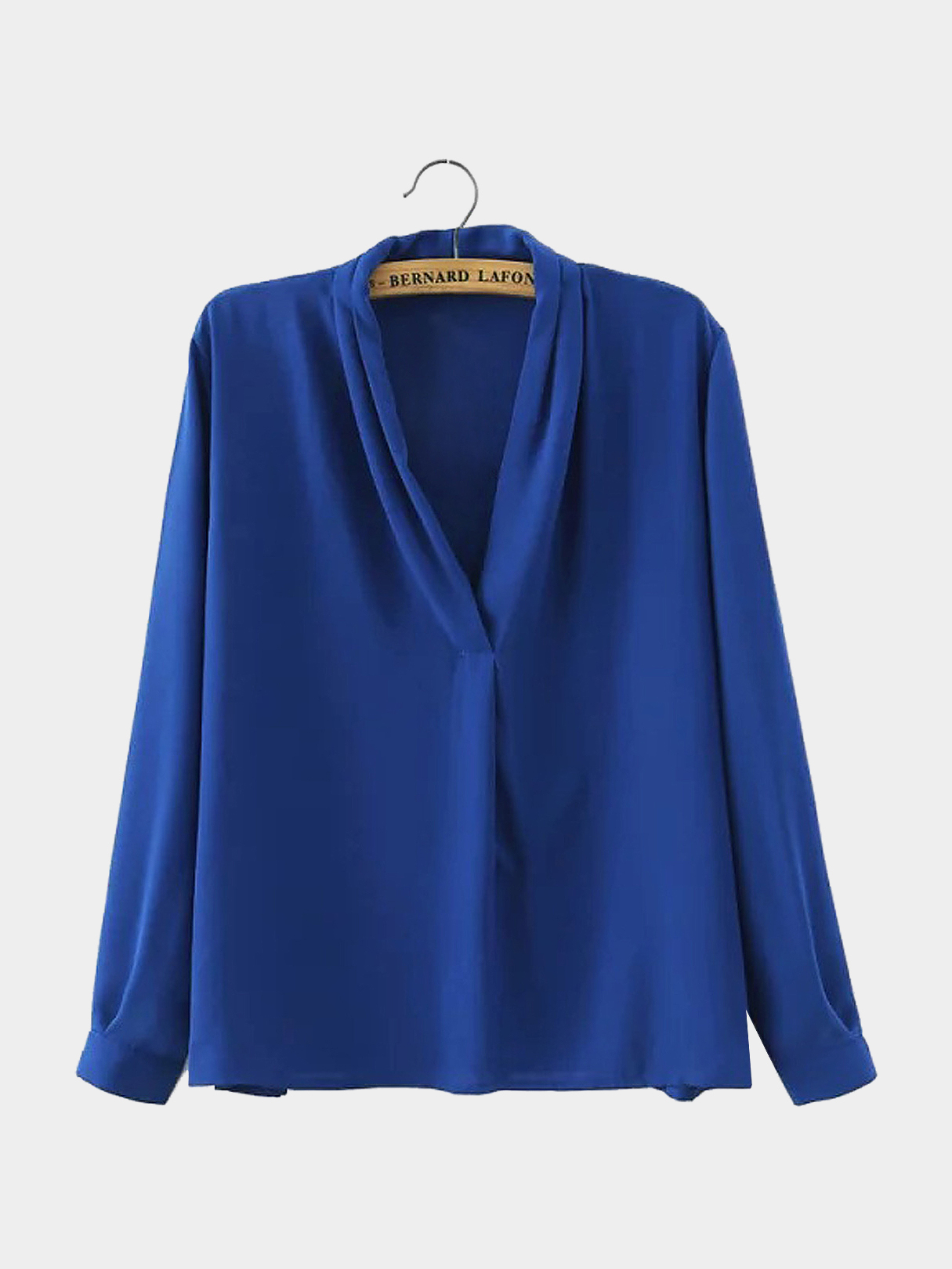 V Neck Pleated Flowy Shirt in Blue