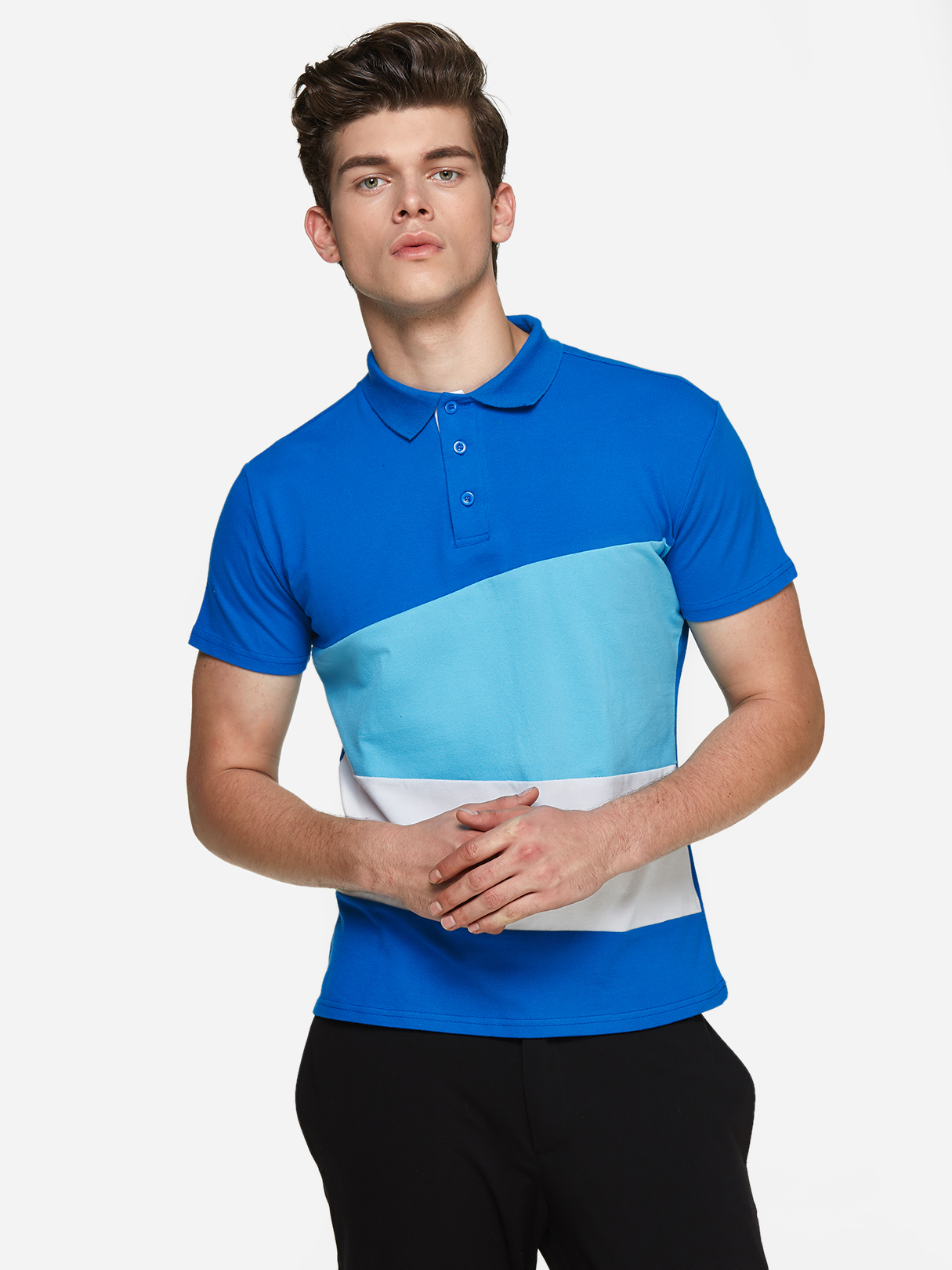 Light Blue Color Blocking Three Buttons Short Sleeve Men's Polo Shirt dark blue color blocking three buttons short sleeve men s polo shirt