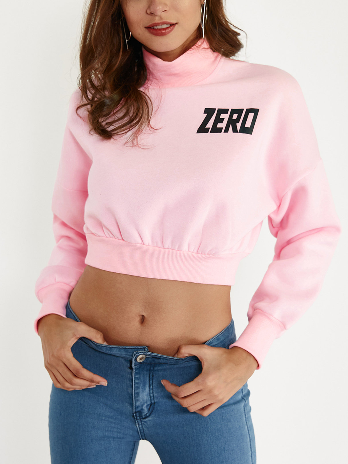 Active Letter Print Long Sleeves Sports Hoodies in Pink active crossed front design pullover sports hoodies in white