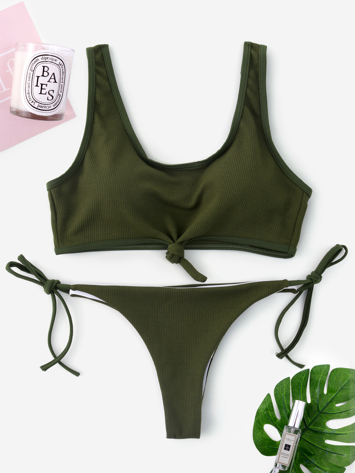 Green Knotted Front Tie-up Design String Bikini khaki knotted front tie up design string bikini