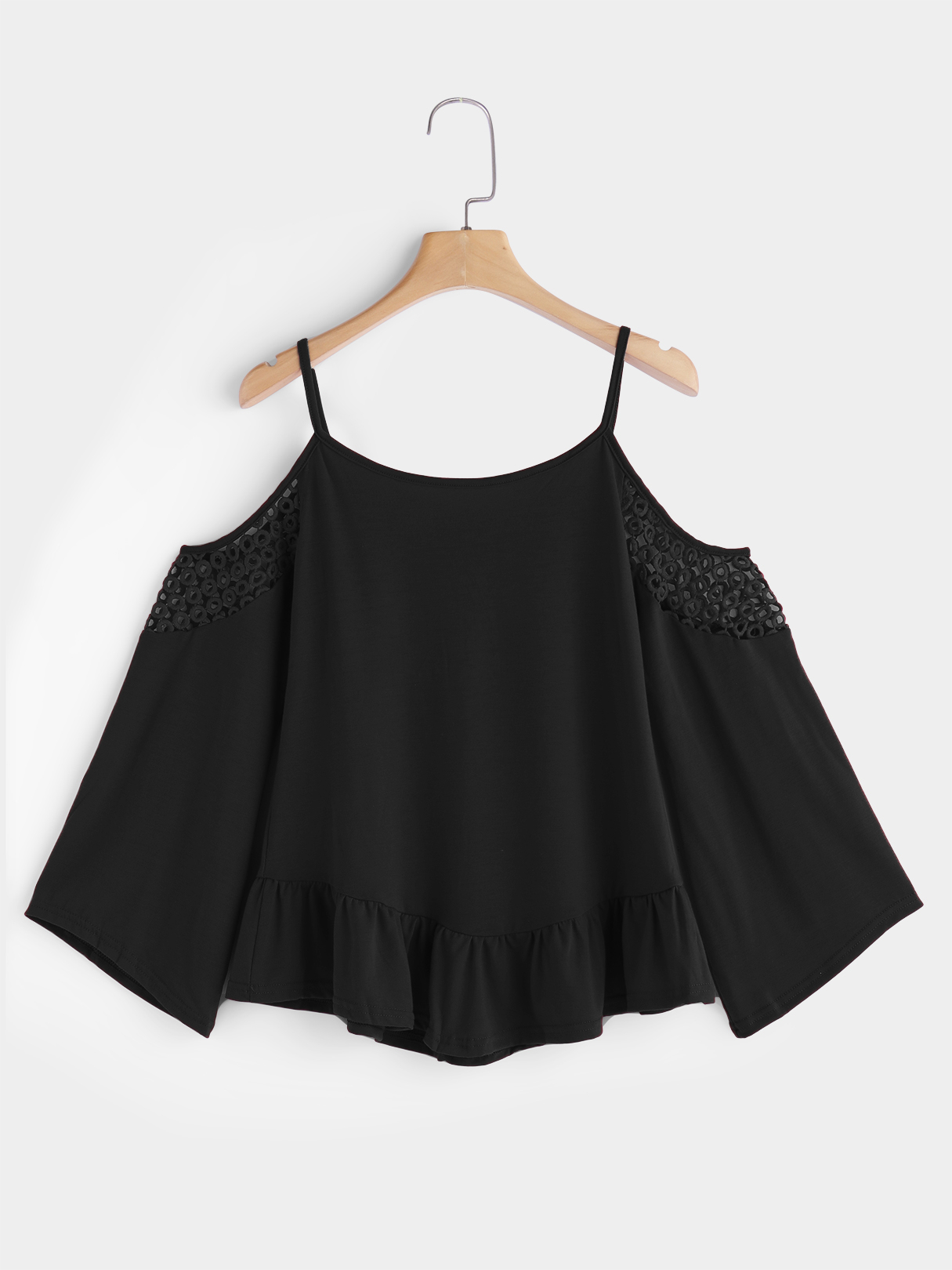 Black Hollow Detials Cold Shoulder Lace Up Details Long Flared Sleeves Blouse black sexy cold shoulder halter design long sleeves blouse