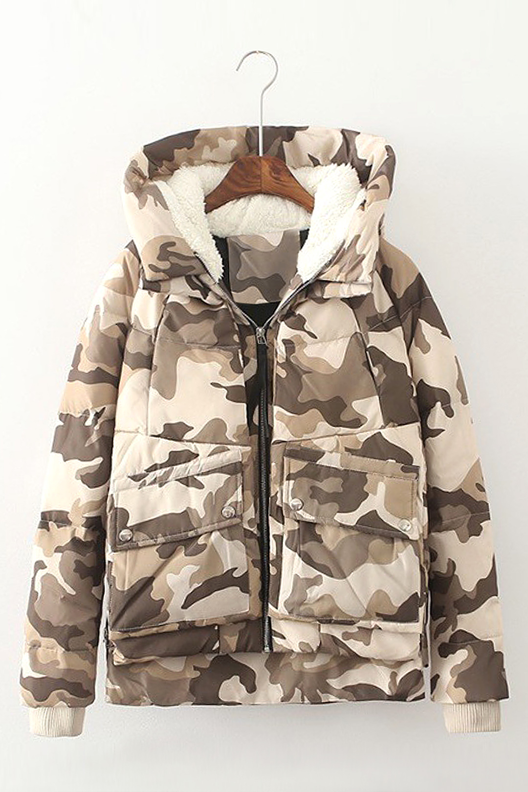 Camouflage Print Hooded Coat