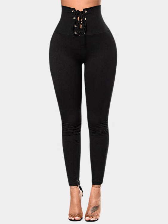 Black Lace-up Design High-waisted Leggings