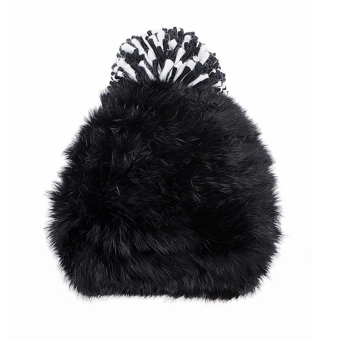 Fluffy Bobble Beanie in Black