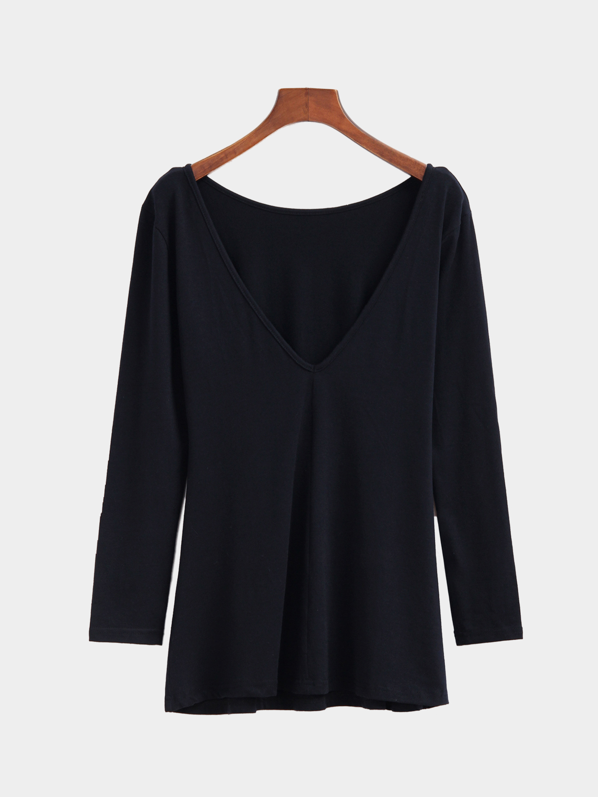 Casual Pure Color Backless Long Sleeve T-shirt Dress