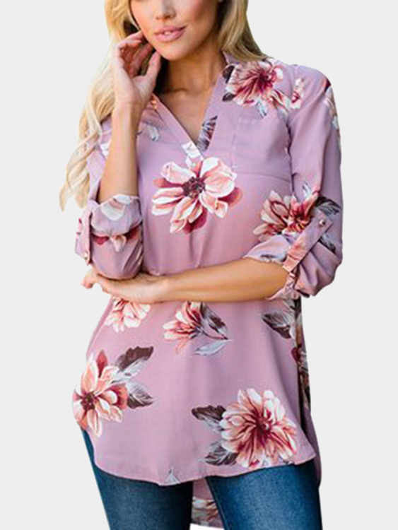 Pink V-neck Roll up Sleeves Random Floral Print Blouse roll up ankle jeans