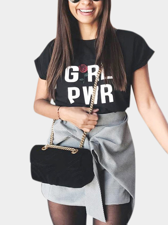 Black Short-sleeved T-shirt Girl Power Letter Print