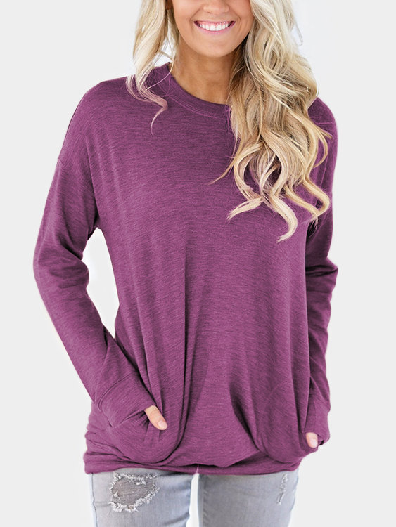 Burgundy Side Pockets Long Sleeves Loose T-shirt