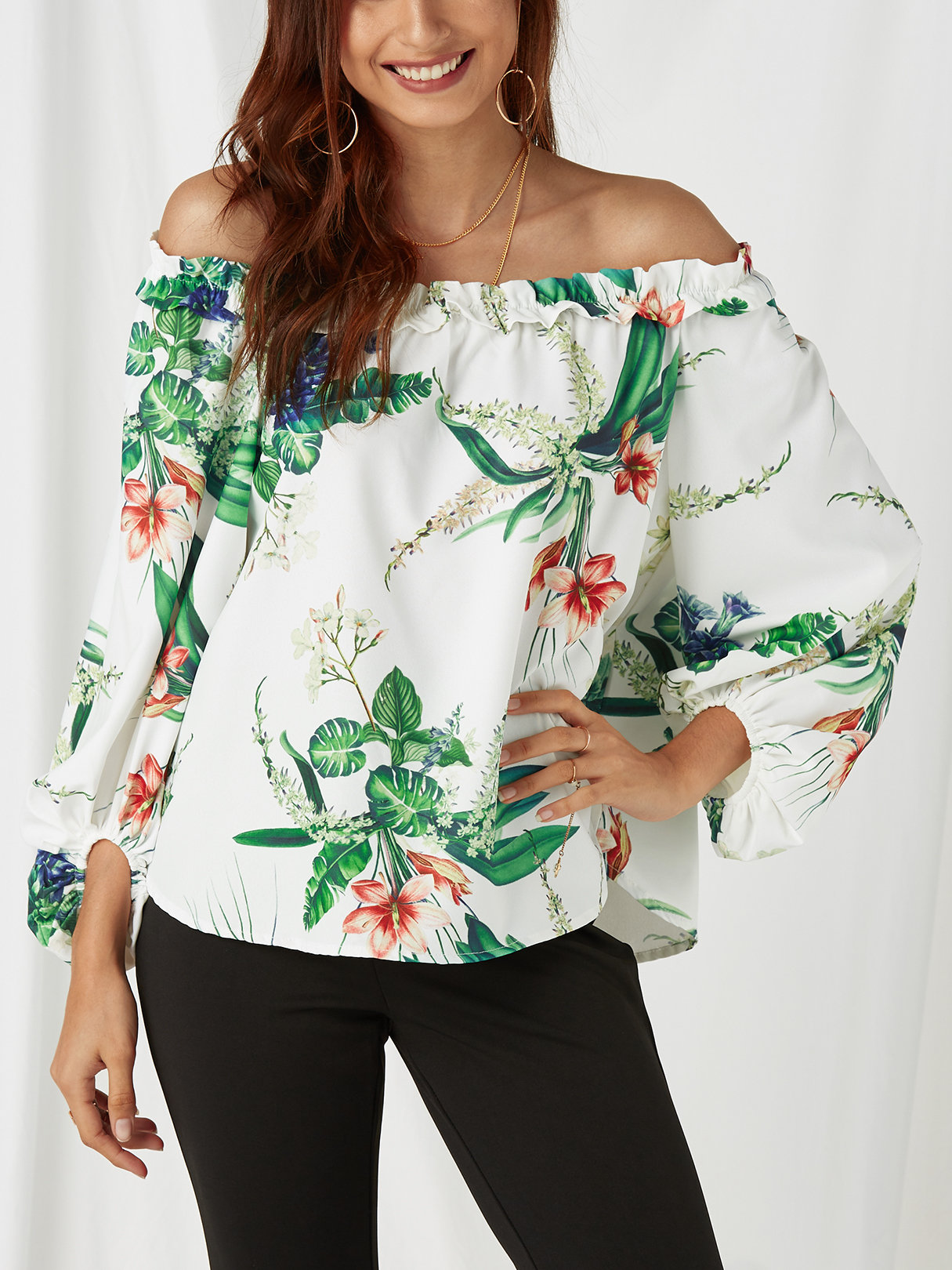 Random Floral Print Off The Shoulder Lantern Sleeves Top