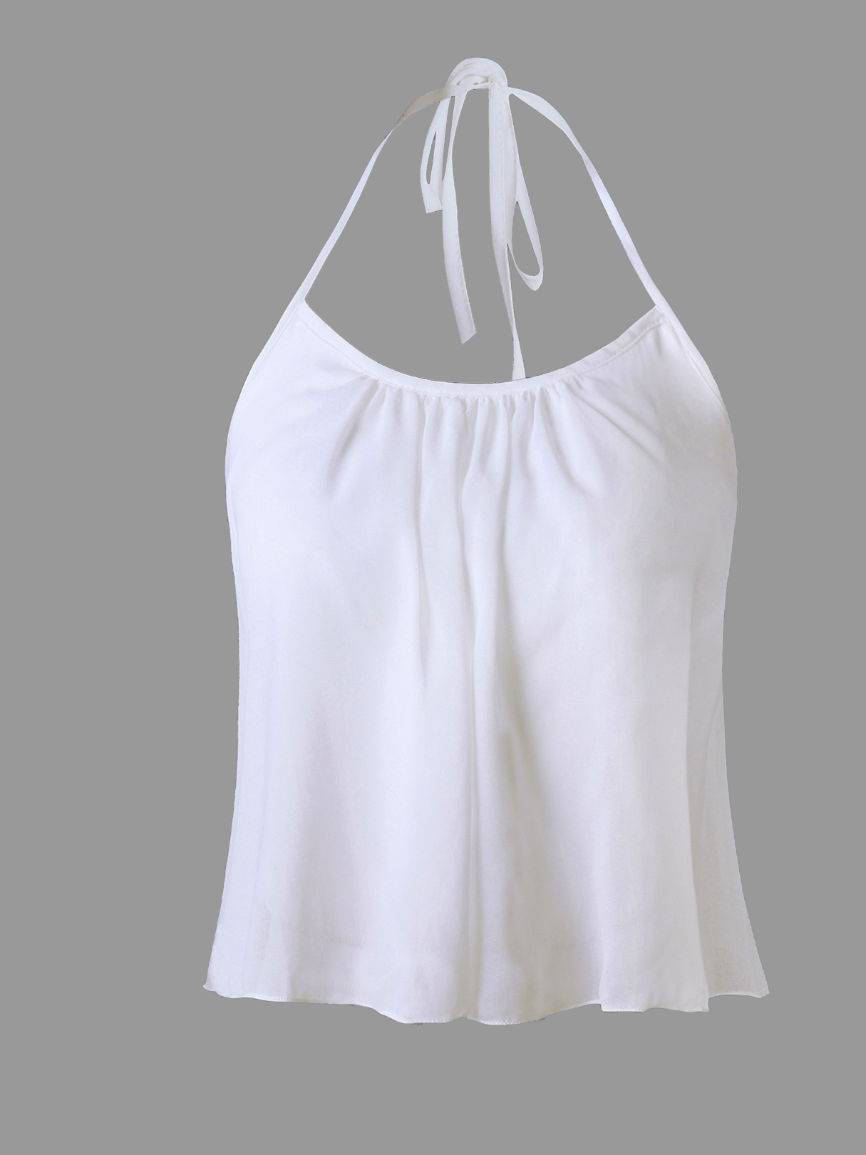 White Semi-sheer Halter Neck Chiffon Crop Top
