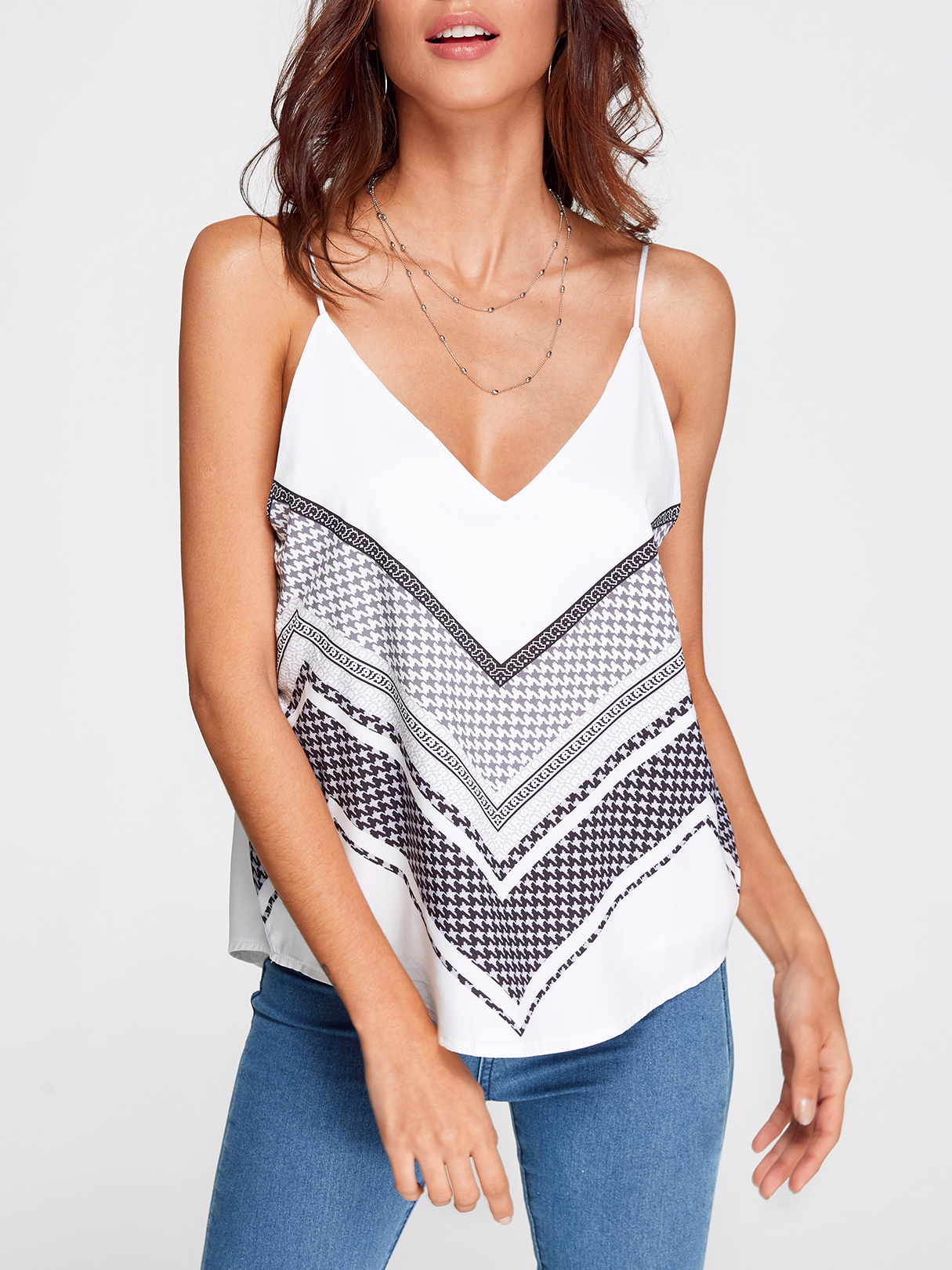 V-neck Random Stripe Print Cami Top in White plus leaf print v neckline top