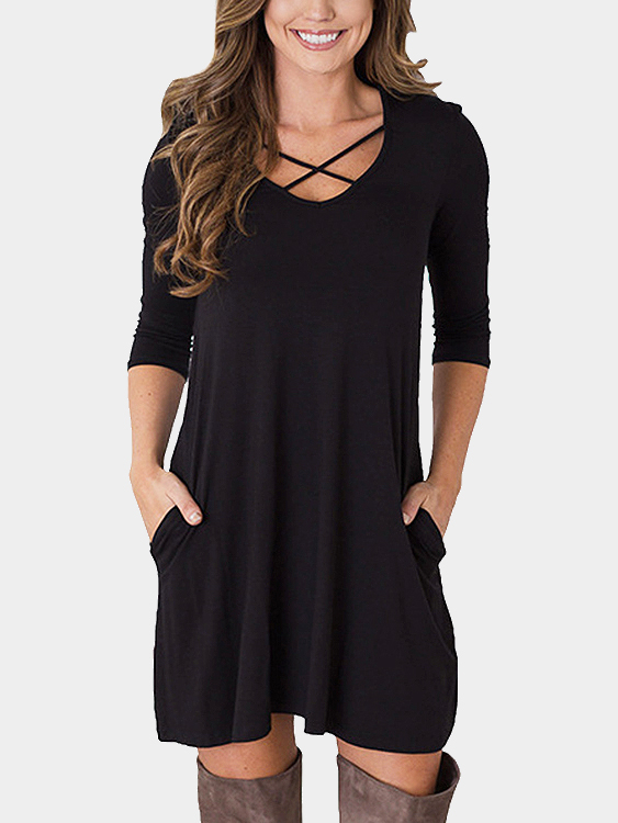 Black 1/2 Length Sleeves Causal Dress With Pockets