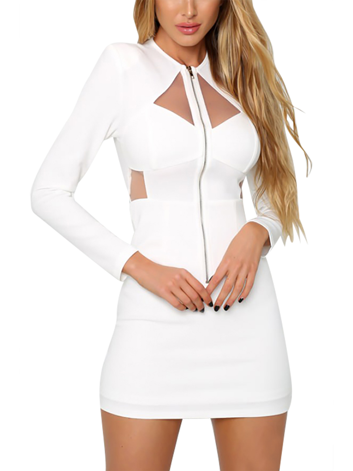 Long Sleeves Crew Neck Mini Dress with Cut Out Details