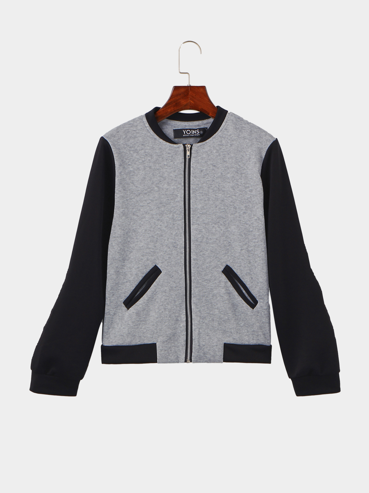 Grey Fashion Quilted Jacket With Pocket