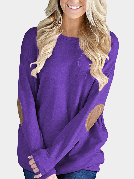 Purple Elbow Patch Round Neck Long Sleeves Top