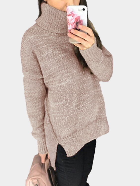 Dusty Pink Oversize Knit Roll Neck Irregular Hem Sweater