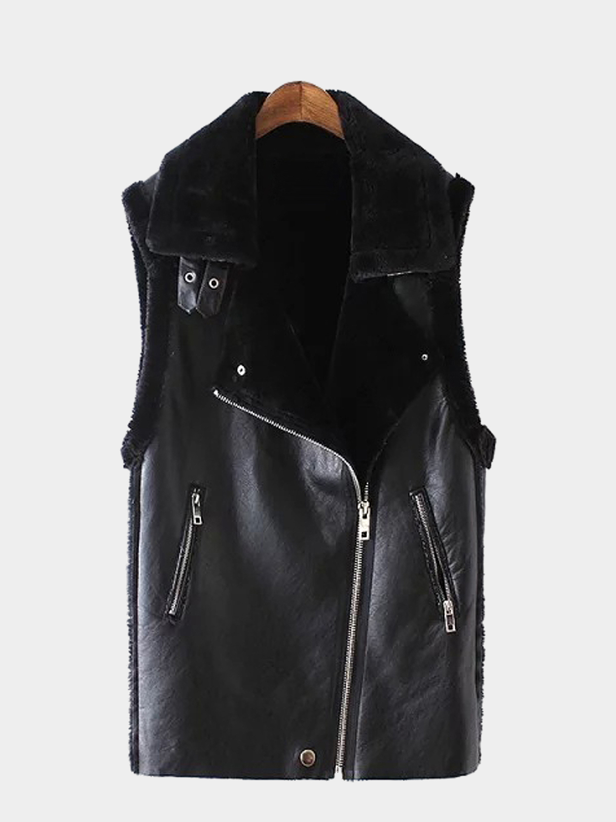 Leather-look Gilet with Faux Fur Collar