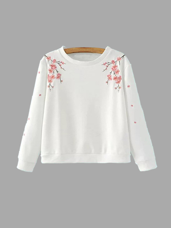 White Crew Neck Wintersweet Embroidery Pattern Sweatshirt pink casual embroidery floral pattern sweatshirt