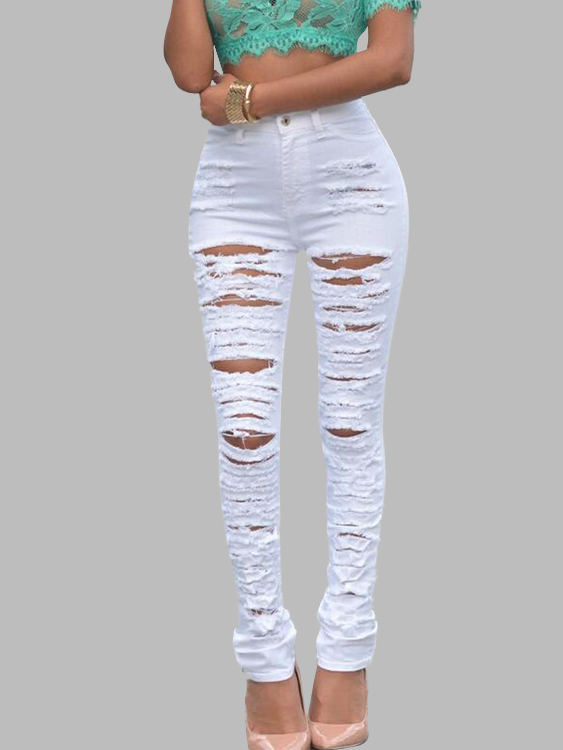 White Ripped Jeans with High-waist Design high waist blue cool denim jeans women summer skinny boyfriend hole ripped femme pencil pants fashion female long trousers 40 f