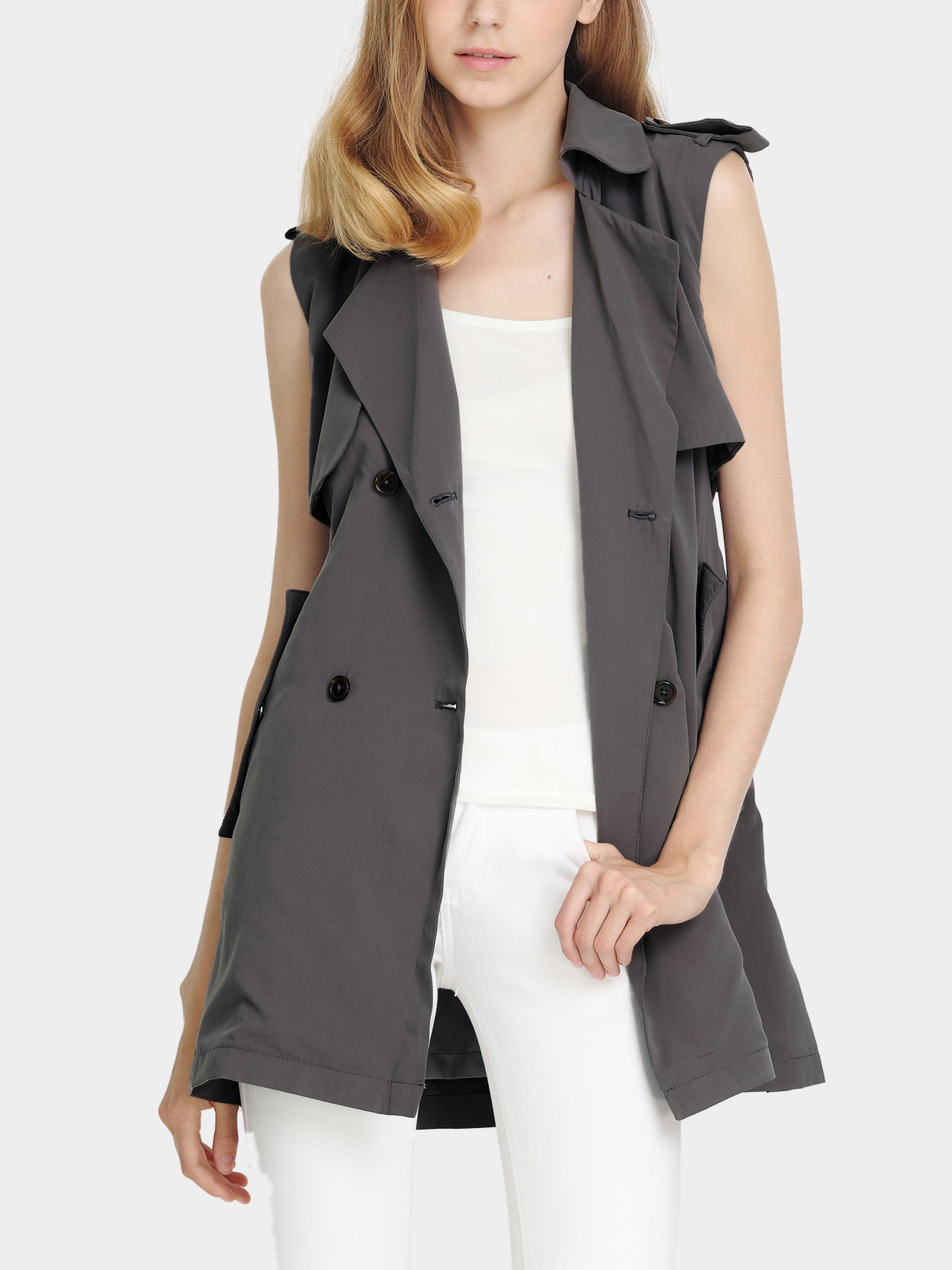 Double-breasted Fastenings Lapel Collar Gilets