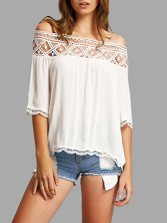Semi Sheer Hollow Out Off Shoulder Blouse  with Lace Details