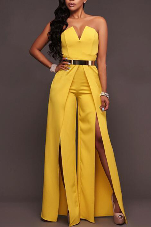 Yellow Sexy Strapless V Neck Slit Jumpsuit black strapless high waisted jumpsuit