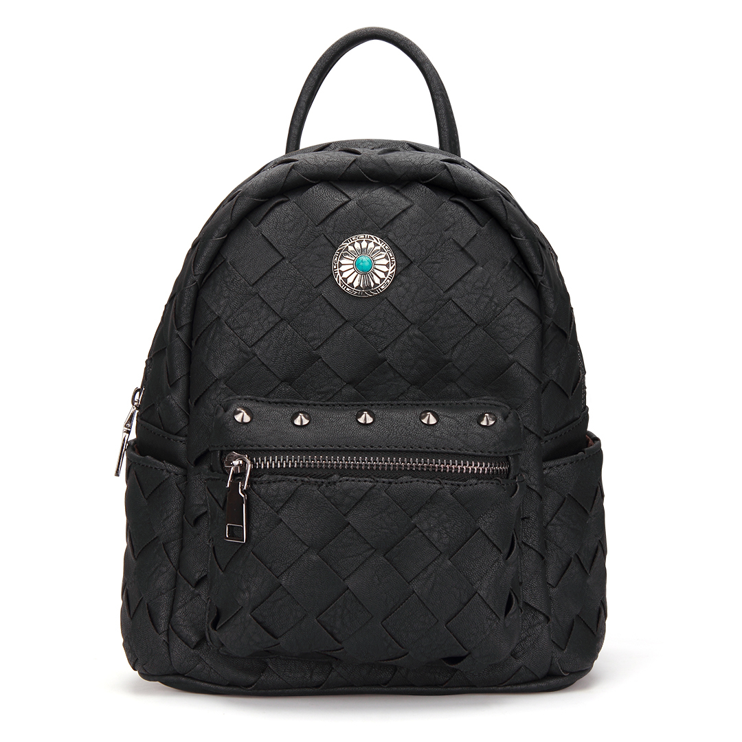 Woven Mini Backpack in Black